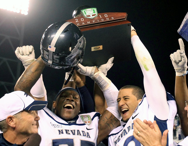 Nevada's trademark pistol offense didn't produce many points, but it provided enough to help the Wolf pack squeeze by Boston College in the Kraft Fight Hunger Bowl. Nevada wide receiver Rishard Matthews caught a touchdown pass and returned a punt for another score to cap off the school's most successful season in history. Nevada snapped a four-game bowl losing streak by snagging its 13th victory of the season, tying the school record.