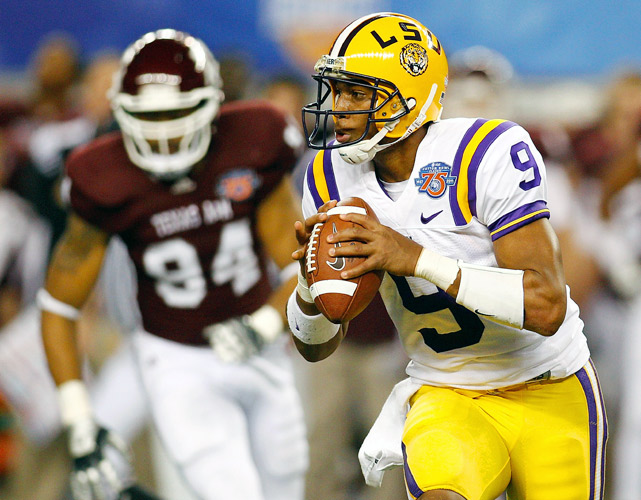 An up-and-down season ended in a definite upswing for LSU quarterback Jordan Jefferson. The dual-threat Tiger threw three touchdowns (all to wide receiver Terrence Toliver) and ran for another in LSU's 41-24 victory over Texas A&M in the Cotton Bowl. Running back Stevan Ridley rushed for 106 yards and a touchdown and fellow back Spencer Ware added 103 on the ground in the win.