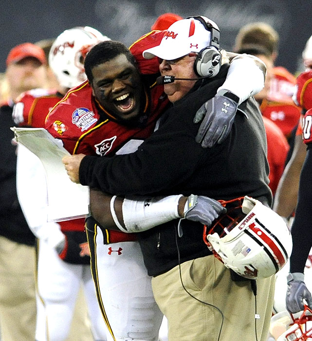 It was Ralph Friedgen's final game as Maryland's coach -- he was forced out after an 8-4 regular season -- and the Terps sent him out with a bang. D.J. Adams rushed for four touchdowns and Maryland scored 35 second-half points. Friedgen finished 75-50 at Maryland, including 5-2 in bowl games.