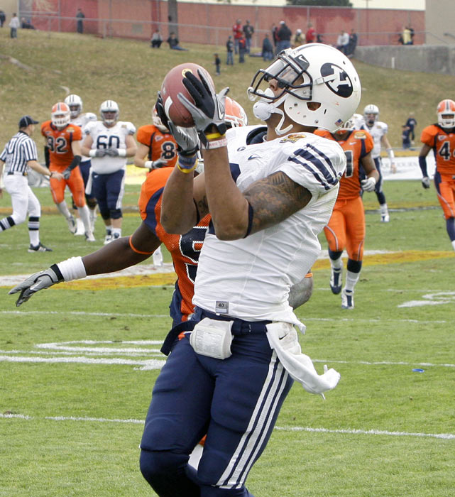 After stumbling to a 1-4 start this season, Brigham Young finished the regular season by winning five of its last seven games. The Cougars carried that momentum into college football's first bowl game of the season with a 28-point victory over UTEP. Quarterback Jake Heaps passed for 264 yards and four touchdowns, three of which to Cody Hoffman (left).