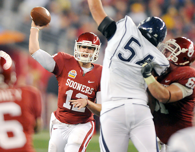 The Oklahoma Sooners don't have to hear about their BCS losing streak anymore. They busted it up in a big way. Landry Jones threw for a school bowl-record 429 yards and three touchdowns, and OU ended a five-game BCS bowl losing streak in convincing fashion. Oklahoma (12-2) carried plenty of BCS baggage after losing three straight title games and two Fiesta Bowls. The Sooners avoided the setback six pack behind Jones and Ryan Broyles, who had team records of 13 catches and 170 yards to go with the sealing touchdown.