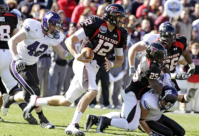 Northwestern made it interesting late, moving within a touchdown two times in the fourth quarter, but Texas Tech prevailed to give Tommy Tuberville a bowl win in his first season as head coach. Taylor Potts threw four touchdown passes and scored another on a trick play and the Red Raiders picked off Northwestern's final pass attempt to win the inaugural TicketCity Bowl.