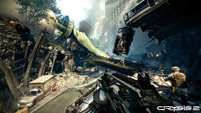 EA is finally bringing the action-packed shooter, Crysis, to the console. The previously PC-only game drops you into a post-apocolpytic New York in which you fight various minions of aliens in a nano-suit equipped with powers like temporary invisibility and invulnerability. Tactically you're able to attack targets head on, or play more strategically using stealth and sniping. The open levels and varied destroyed-city terrain worked for both methods. The graphics were crisp and the enemy AI was effective in the level we played. You'll be able to play the game in 2D or 3D with a 3D-capable TV and glasses. Crysis 2 is scheduled for a March 22 release.