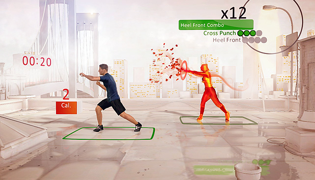 For  a peripheral that's predicated on  activity and motion, an exercise  game is a no-brainer. Your Shape leads the way  with a well-crafted  fitness program that is easy to use and takes itself  seriously. To  start the game scans you so it can properly track your movements.  In  each exercise you'll have a virtual trainer explaining and showing you  the  proper form. You are represented on screen by a colored amorphous  skeleton  showing how the sensor views you. Sensor recognition is  sometimes an issue that  leads to the game calling you out for bad form.  While it can get a little  annoying, you're still exercising and  burning calories. The game focuses heavily  on cardio exercises as well  as legs and upper body, but you can add free weights  to increase the  benefits.   Score:  8/10