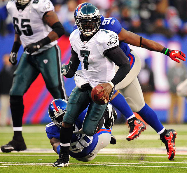 What a finish! The Eagles trailed 24-3 at the half and 31-10 after a Giants field goal with 8:23 remaining in the fourth quarter. From there, Philadelphia scored 28 consecutive points, in this order: Michael Vick threw a 65-yard TD pass to Brent Celek with 7:43 to go; Vick, after a successful onside kick, scored on a 4-yard run at the 5:32 mark; Vick hit Jeremy Maclin for a 13-yarder to tie it with 1:24 to play; and, on the last play from scrimmage, DeSean Jackson first fumbled a Matt Dodge punt and then returned it 65 yards for the game-winner.