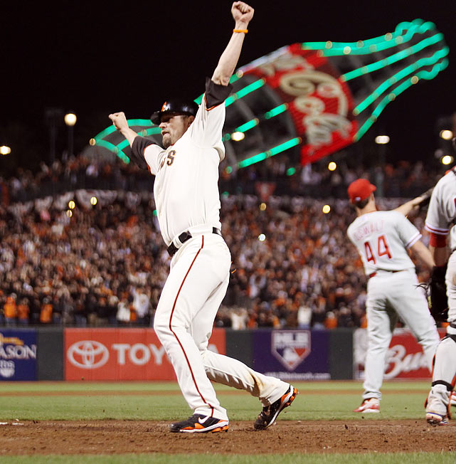 This may have been the game that finally convinced the world that the Giants were capable of winning their first World Series title in 56 years and that Buster Posey, who went 4-for-5, was a special player. The Giants had already beaten two of the Phillies' vaunted H2O in Roy Halladay and Cole Hamels, and in Game 4 they beat Roy Oswalt, making a rare relief appearance, in the ninth inning, rallying for victory on Juan Uribe's sacrifice fly. Earlier, the Phillies had overcome a 3-0 deficit to score four in the fifth but the Giants got two in the sixth to take the lead before the Phillies drew even in the eighth.