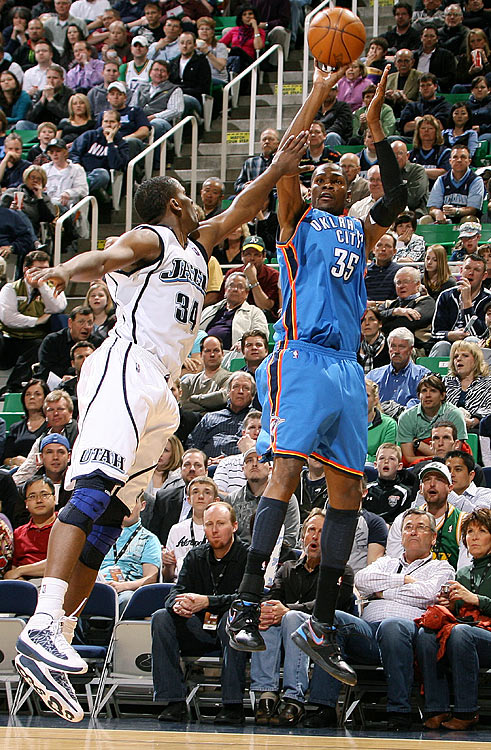 "The highest-scoring game of the 2009-2010 season ended in dramatic and controversial fashion. First, Deron Williams' jumper with 1.1 seconds left in overtime gave host Utah a one-point lead; then, the Jazz's C.J. Miles blocked Kevin Durant's three-pointer on a play on which the Thunder pleaded for a foul call, to no avail. (The next day, the NBA said Miles should've been called for a foul, which would've sent Durant, a 90 percent free-throw shooter, to the line for three shots.) Williams finished with 42 points, 10 assists and one turnover, teammate Carlos Boozer collected 28 points and 15 rebounds and Durant had 45 points in a game Boozer described as an ""instant classic."""