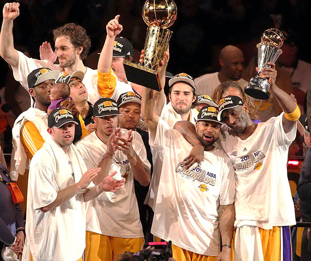 In the first Finals Game 7 in five years, the Lakers overcame a 13-point third-quarter deficit and a 6-of-25 shooting performance from Kobe Bryant to win their second championship in a row and 16th overall. The Lakers shot only 32.7 percent but made 12-of-14 free throws in the final six minutes and got a huge three-pointer from Ron Artest down the stretch.