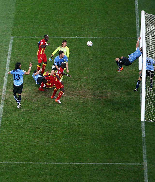 Uruguay star striker Luis Suarez was a hero of sorts as he ended up saving his team from a defeat at the end of extra time with a blatant and deliberate handball on the goal line. The heartbreak for Ghana commenced as Asamoah Gyan missed the ensuing penalty shot; he welled up after his shot bounced high off the crossbar. In penalty kicks, Sebastian Abreu scored the game-winner for Uruguay, which advanced to the semifinals for the first time in 40 years.