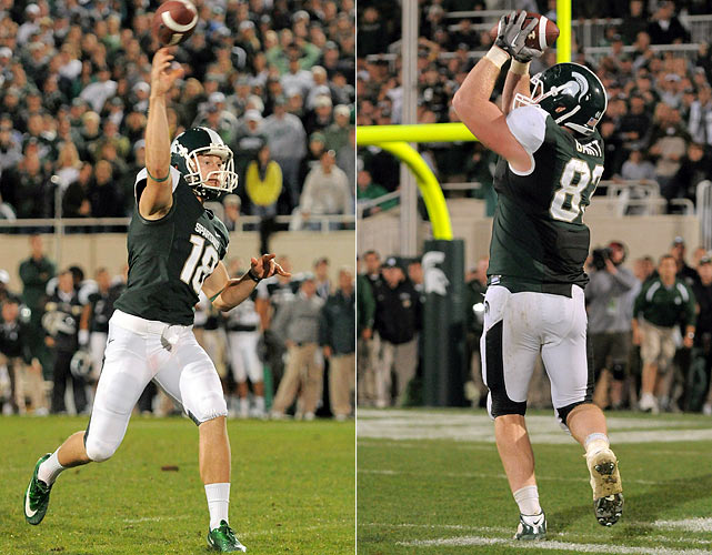 """We always name our trick plays after movies,"" Michigan State coach Mark Dantonio explained to a stunned viewing public after the game. This one was called ""Little Giants."" With Dan Conroy lined up for a 46-yard field goal to tie the game in overtime, holder Aaron Bates took the snap. Then Bates stood up. Scanning the field, he found Charlie Gantt open downfield and connected for a 29-yard game-winning touchdown. The play would have lived in Spartans lore regardless, but it became even more infamous in light of two postgame developments: video evidence that Michigan State had failed to snap the ball before the play clock expired and Dantonio's heart attack mere hours later."