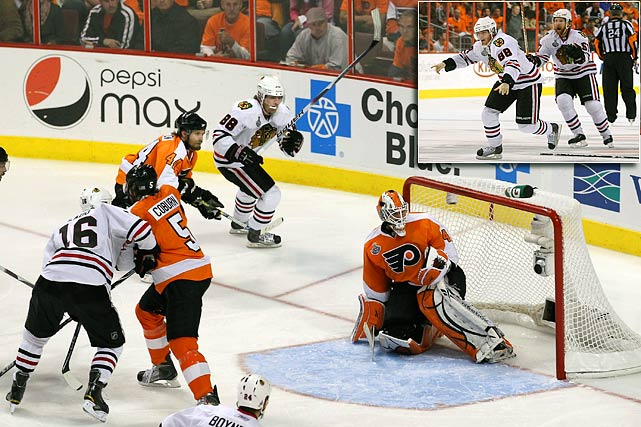 Philadelphia's Scott Hartnell extended Chicago's 49-year wait for the Stanley Cup by scoring his second goal of the game with 3:59 left in the third period. In overtime, the Blackhawks weathered a furious Flyers attack before Patrick Kane ended the game with shocking suddenness at 4:06 when his low shot from the bottom of the right circle beat Michael Leighton. But with the puck lost in the goal's padding, the red light did not go on and neither Leighton nor the crowd in Philadelphia's Wachovia Center immediately realized that the decisive goal had been scored. Kane did, and he jubilantly raced down the ice toward goalie Antti Niemi, pursued by his teammates.