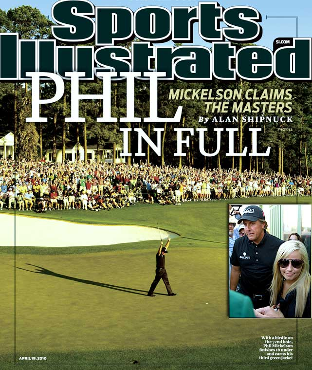 While a scandal-plagued Tiger Woods contended in his 2010 debut, Mickelson stole the show. Mickelson shot a 5-under 67 in the final round, highlighted by a spectacular 6-iron from the pine straw on the 13th hole to set up a birdie, and pulled away for a three-shot victory over Lee Westwood. Lefty's third green jacket was made all the sweeter by the presence of his wife, Amy, who had been undergoing breast cancer treatment and hadn't attended a tournament in almost a year.