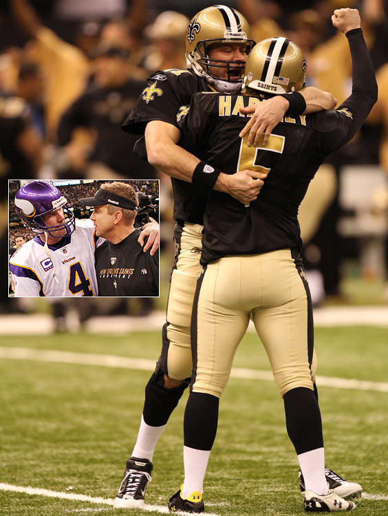 This one will be remembered as much for Brett Favre's throwing an interception deep in Saints territory in the final minute of regulation as it will for the Saints' earning their first Super Bowl berth. Minnesota appeared to be positioning itself for the winning field goal when Favre was flushed from the pocket and intercepted by Tracy Porter at the Saints' 22-yard line. After New Orleans won the overtime coin toss, Drew Brees, who threw for three scores and no picks, drove the Saints into field-goal range. The possession featured a gutsy call by coach Sean Payton, who successfully went for it on fourth-and-1 from the Minnesota 43. The game wasn't pretty -- the teams combined for nine fumbles and two interceptions -- but it was suspenseful. No one led by more than a touchdown.