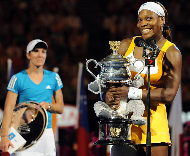 After a string of generally uninspiring matches in the women's finals of majors, Williams and Henin served up a borderline classic. Serena prevailed 6-4, 3-6, 6-2 in a thoroughly engrossing three-setter, marked by wild swings in momentum, some lethal hitting and some real wills. In her first major of Career 2.0, Henin had real chances to take the big prize, but Williams won six of the last seven games to claim her 12th major title.