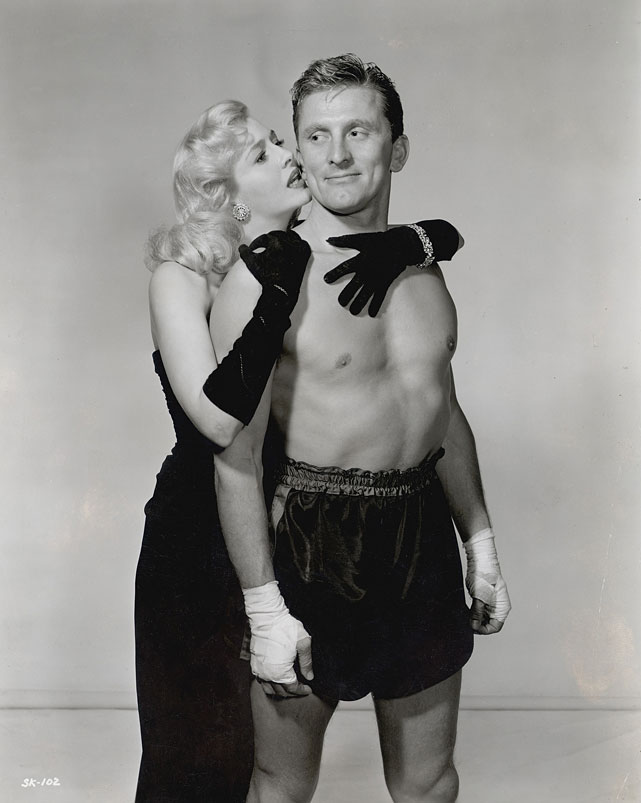 "Directed by Mark Robson. Starring Kirk Douglas, Marilyn Maxwell, Arthur Kennedy.   THE STORY  The Shakesperian rise and decline of world champion Midge Kelly (Douglas, in his breakthrough role), who claws to the top at the expense of both friends and opponents, leads to one of the genre's most powerful climaxes.  THE LEGACY  Based on a Ring Lardner story,  Champion  made Douglas a star and bagged six Oscar nominations, winning for Film Editing.  THE QUOTE  ""Those fat bellies with the big cigars aren't going to make a monkey out of me! I can beat 'em ... You know I can beat 'em!""  --Midge Kelly (Douglas)"