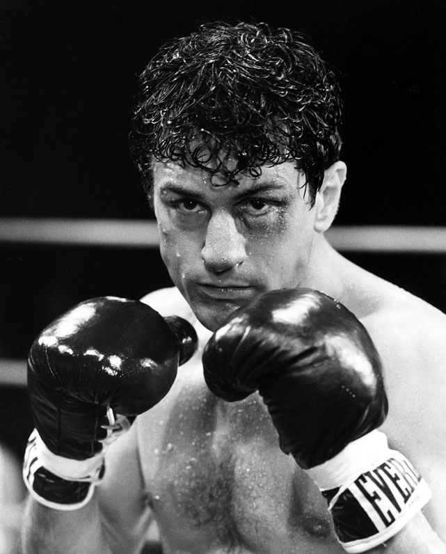 "Directed by Martin Scorsese. Starring Robert De Niro, Cathy Moriarty, Joe Pesci.   THE STORY  Scorsese's unflinching character study (working from Paul Schrader's script) tracks the rise, fall and ultimate redemption of 1940s middleweight champion Jake LaMotta, whose violent tendencies and jealous impulses led to professional and personal self-destruction.  THE LEGACY  The pinnacle of the Scorsese-De Niro-Schrader triumvirate,  Raging Bull  was tipped by  Ordinary People  for the Best Picture Oscar, but is frequently listed as the best American film of the eighties. De Niro, who famously gained 60 pounds mid-shoot to portray the bloated LaMotta later in life, was named Best Actor.  THE QUOTE  ""You didn't get me down, Ray.""  --LaMotta"