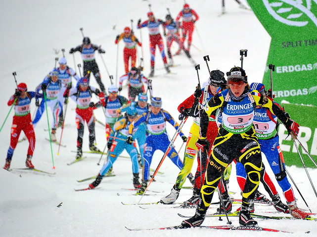 France's Anais Bescond leads the pack during the women's biathlon World Cup relay in Hochfilzen, Austria. Germany won ahead of Ukraine and Norway.