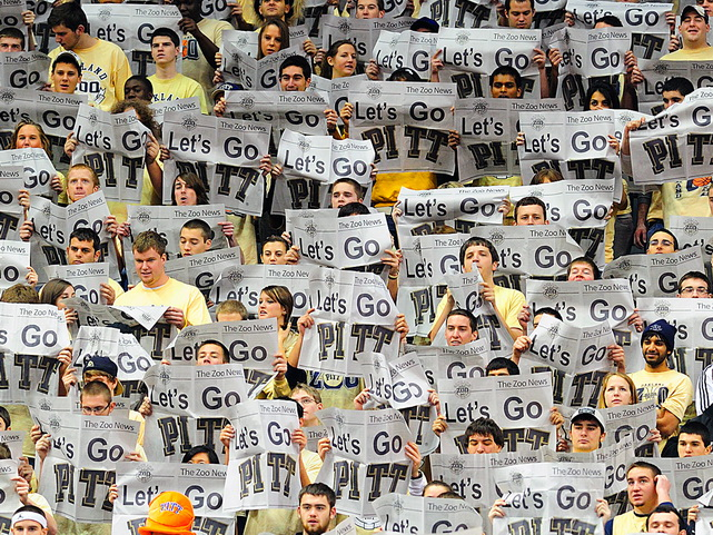 Pittsburgh fans feign disinterest as Tennessee's lineup is introduced before a SEC/Big East Invitational game at Consol Energy Center in Pittsburgh on Dec. 11. The Volunteers handed the third-ranked Panthers their first loss, 83-76.