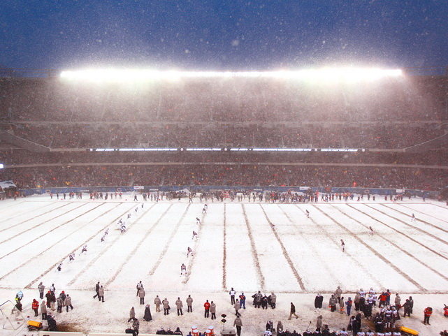 The Patriots kick off in a snowstorm during their Dec. 12 game against the Bears at Soldier Field in Chicago. The Patriots defeated the Bears 36-7.