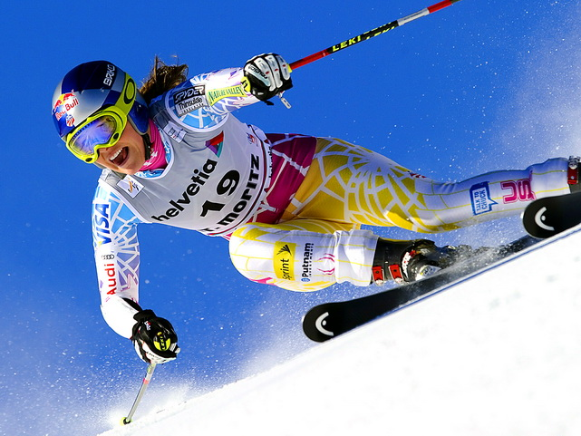 Lindsey Vonn clears a gate during the first run of the alpine skiing World Cup giant slalom race in Saint Moritz, Switzerland, on Dec. 12. Tessa Worley of France won the event while Vonn finished seventh.