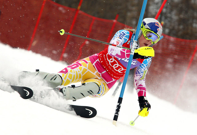 U.S. skier Lindsey Vonn races down the mountain to take first place during the Audi FIS Alpine Ski World Cup women's super-combined on Dec. 19 in Val d'Isere, France.