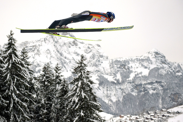 Austria's Thomas Morgenstern soars through the air to win the ski jumping World Cup competition on Dec. 18 in Engelberg, Germany.