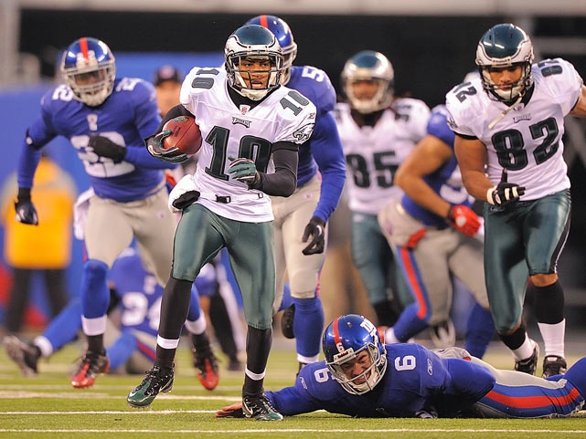 Philadelphia Eagles wide receiver DeSean Jackson leaves a trail of Giants in his wake on a punt return as time expires in a game against the New York Giants at New Meadowlands Stadium. No one would catch Jackson, who scored to give the Eagles a 38-31 victory.