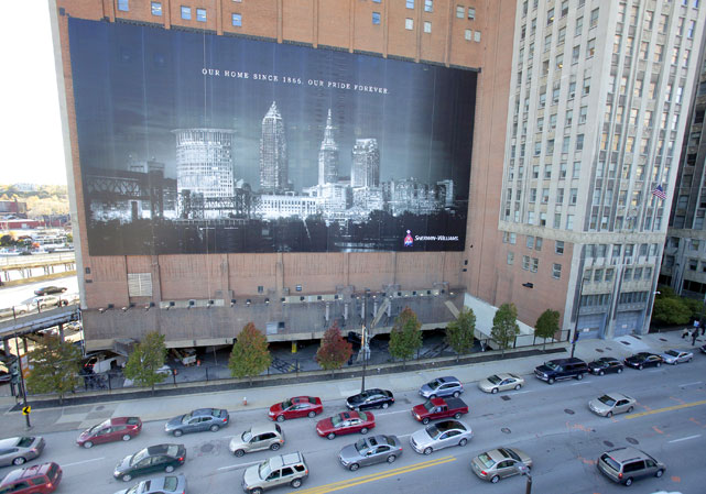 "And remember that huge ""Witness"" mural of LeBron that hung in downtown Cleveland? Well, this 25,000-square-foot, 10-story, 1.3-ton banner, courtesy of Sherwin Williams, has replaced it."