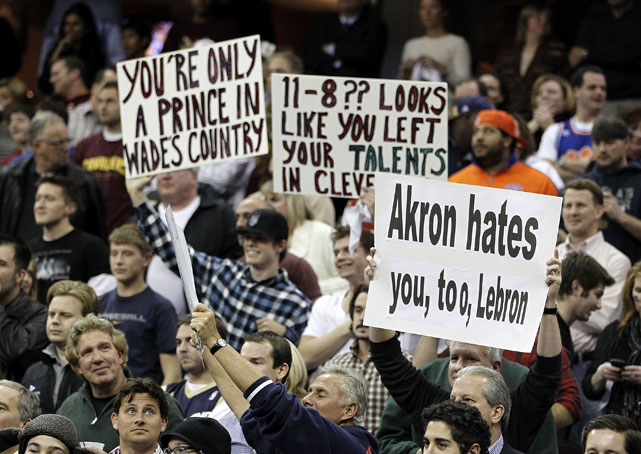 As expected, Cavs fans were ruthless, reiterating many of their anti-LeBron chants on huge posters.