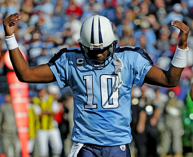 Known for his unpredictable temper, Vince Young threw a tantrum after being benched on Nov. 21 versus the Redskins.  The volatile quarterback originally left the game after suffering a thumb injury, and was held out by coach Jeff Fisher after he deemed Young unfit to return.  Young reacted to the news by storming off the field and hurling his uniform into the stands. The Titans opted not to bring him back for the 2011 season.
