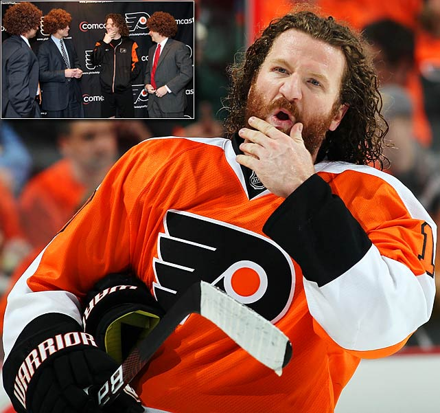 One of the most recognizable characters during the 2010  playoffs, his bushy beard and flowing curlycue locks, since shorn and donated to  Locks of Love to benefit cancer patients, were emulated by legions of Flyers  fans who took advantage of the team's Hartnell wig giveaway promotion. His hair  even had its own Facebook page.