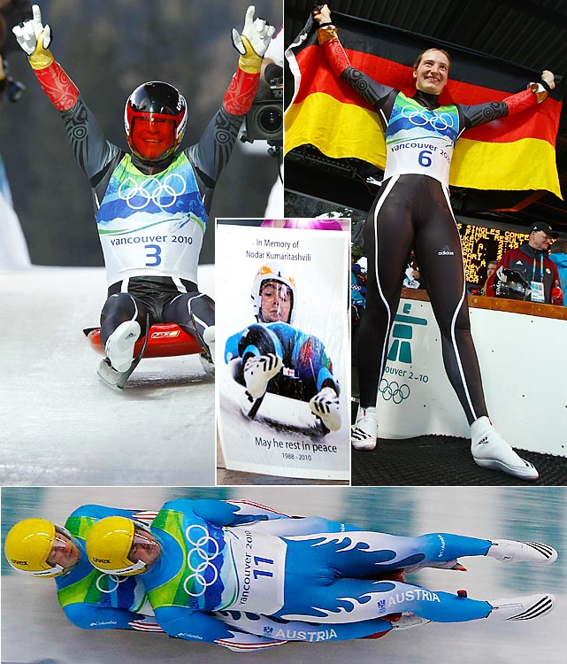 Georgian luger Nodar Kumaritashvili died in a training-run crash on the day of the opening ceremony. The luge competition went on at safer speeds with Germany again outclassing the field. Germans Felix Loch (top left) and Tatjana Huefner (right) won in singles. Austrian brothers Andreas and Wolfgang Linger slid to doubles gold.