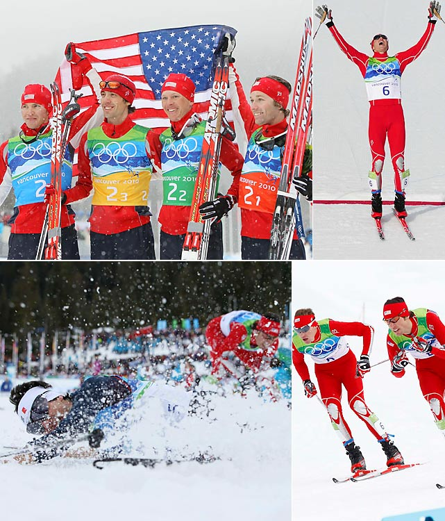 Perhaps no American story was more uplifting than that of the Nordic combined team. In a sport America had never medaled in Olympic competition, Bill Demong, Johnny Spillane, Todd Lodwick and Brett Camerota combined for four medals. The team won silver, Demong (top right) won individual gold and Spillane (bottom left, coming in second to Frenchman Jason Lamy Chappuis) won two individual silvers. Dare find a greater finish to an Olympics than Demong's, who won his event Feb. 25, proposed to his girlfriend that night and was named American flag bearer for the closing ceremony Feb. 28.
