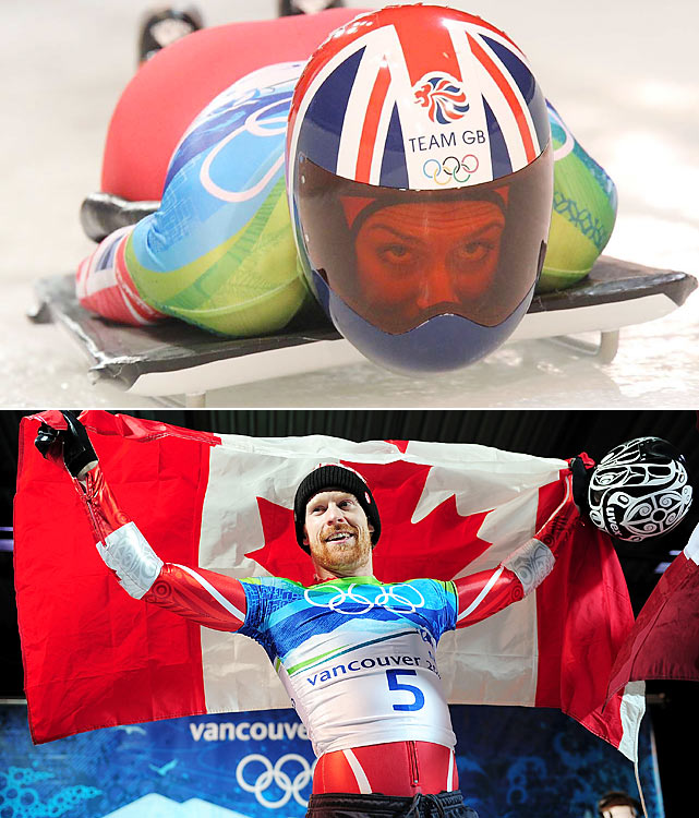 Amy Williams became Britain's first solo Winter Olympic gold medalist in 30 years while wearing a controversial helmet with aerodynamic ridges. Canadian Jon Montgomery jumped from second to first in his fourth and final run and paraded through the streets of Whistler, pitcher of beer in hand, celebrating his improbable victory.