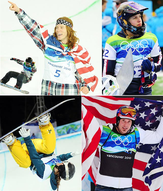 Shaun White didn't need it to win, but he broke out the Double McTwist 1260 anyway on a victory lap after clinching his second straight gold medal. For the first time since 1998, however, the Americans didn't sweep halfpipe gold. Australian Torah Bright (bottom left) busted the streak, pushing past champs Hannah Teter and Kelly Clark to silver and bronze, respectively. Trends became apparent in snowboard cross, where Lindsey Jacobellis (top right) again came up short (not even making the final this time) and Seth Wescott (bottom right) won his second straight gold.