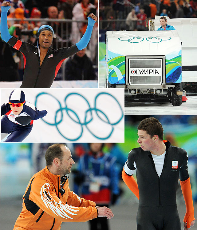 Some of the most bizarre scenes of the Olympics happened at the Richmond Olympic Oval, including an ice resurfacing machine (don't call them Zambonis) malfunction and Dutch star Sven Kramer's (bottom) lane-switch disqualification in the 10,000 meters. American Shani Davis (top left) and Czech Martina Sablikova (center left) faced far less adversity, each winning expected golds.