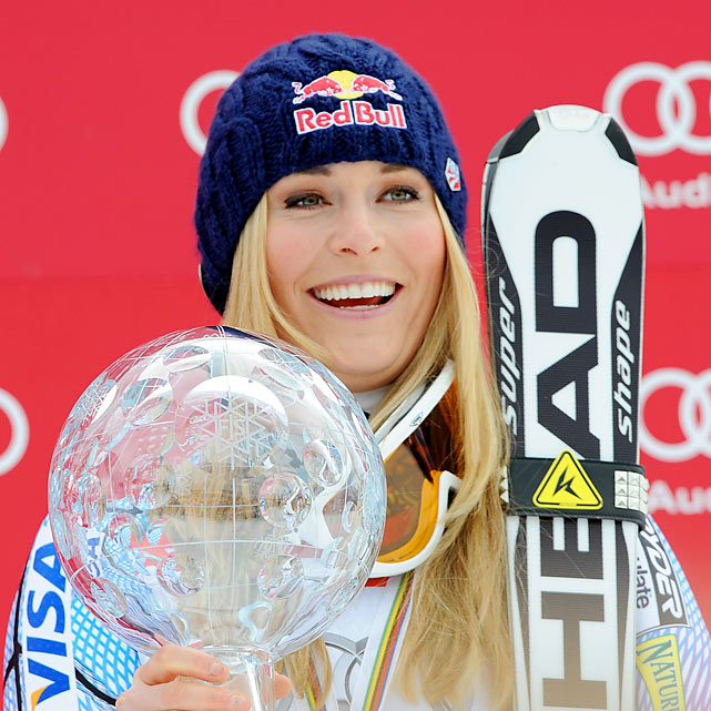 Vancouver star Lindsey Vonn wrapped up her third straight overall World Cup title (and crystal globe that comes with it) one month after the Olympics. She's currently leading the overall World Cup standings for 2010-11, aiming to become the second woman to win four straight overall championships.