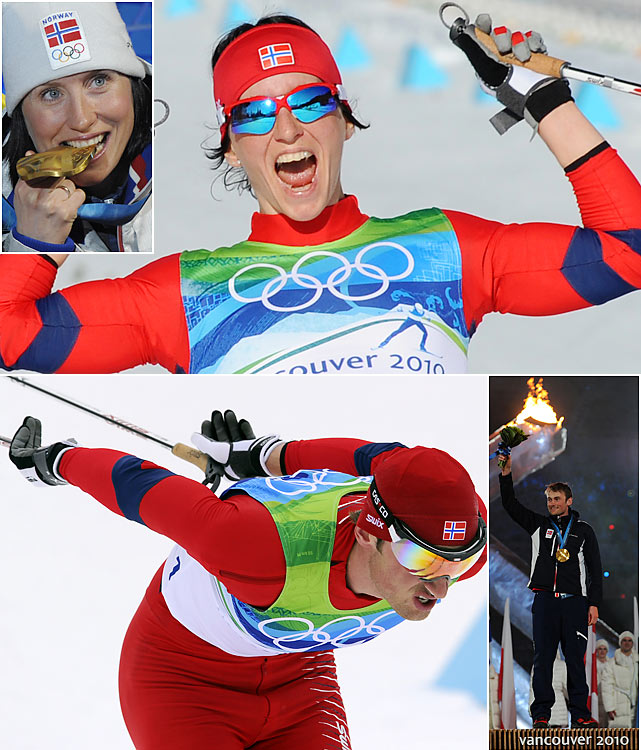 Norway added to its storied Olympic cross-country history on both the men's and women's side. Petter Northug, controversially left off the 2006 Olympic team, grabbed four medals, including the grueling 50-kilometer classic, the winter's version of the marathon where the winner gets honored at the closing ceremony. Marit Bjorgen one-upped Northug with five medals, the most of any 2010 Olympian, including two golds to improve her career Olympic medal count to seven.