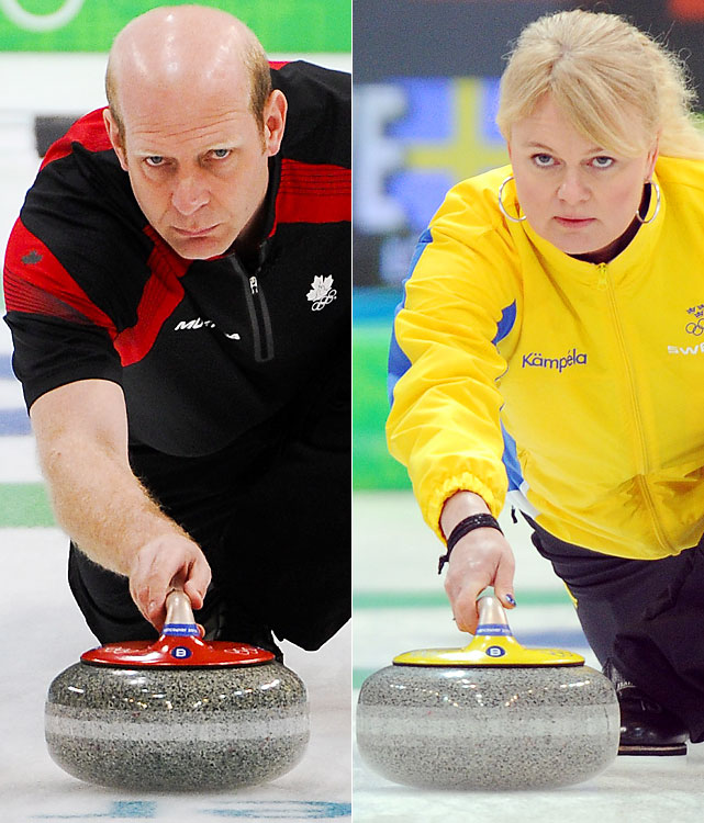Canada had high hopes of winning both curling golds, but only Kevin Martin's (left) rink delivered. The Canadian men never trailed in their gold-medal matchup against Norway, winning 6-3. The Canadian women, skipped by Cheryl Bernard, fell to Anette Norberg (right) and Sweden, who defended their title from Turin in comeback fashion, 7-6 in 11 ends. Sweden was behind 6-4 after nine.
