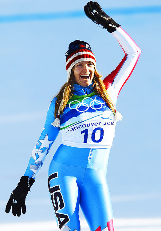 U.S. skier Julia Mancuso celebrates after winning a silver medal in the downhill at the Winter Olympics.  Mancuso would win her second silver in the women's super-combined a day later.