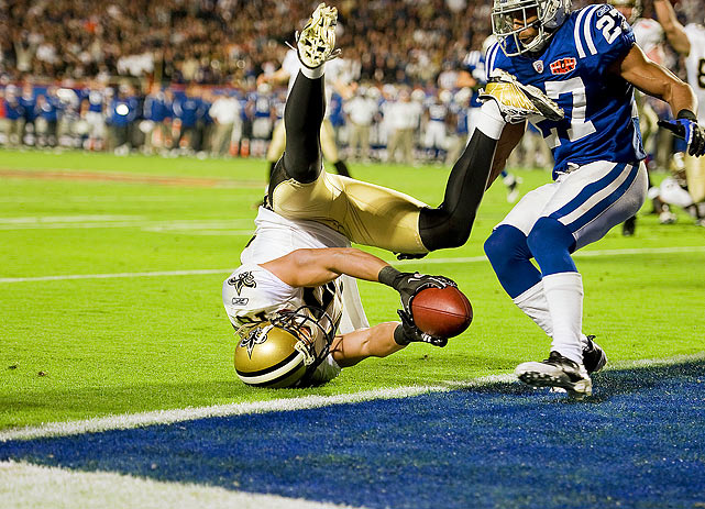 New Orleans Saints wide receiver Lance Moore stretches for the goal line during a two-point conversion in the fourth quarter of Super Bowl XLIV at Sun Life Stadium in Miami. Moore's catch was originally ruled incomplete, but after review, the play was overturned, giving the Saints the lead in their eventual 31-17 victory over the Indianapolis Colts.