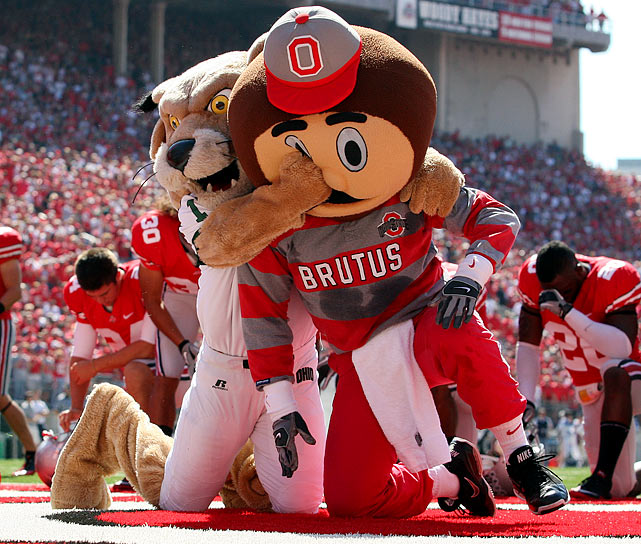 Ohio University mascot Rufus the Bobcat attacks Ohio State mascot Brutus the Buckeye before Ohio State's 43-7 home victory.