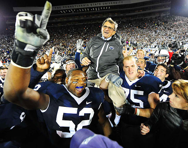 The Penn State Nittany Lions players carry head coach Joe Paterno off the field after he won his 400th career game, a 35-21 victory over the Northwestern Wildcats at Beaver Stadium in State College, Pa.