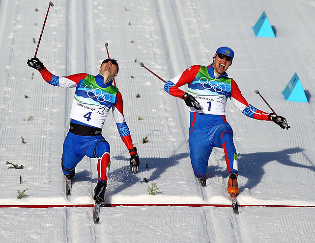 Russia's Nikita Kriukov (left) and Alexander Panzhinskiy had a photo finish during the individual sprint cross-country skiing final at the Vancouver Olympics. Kriukov edged out Panzhinskiy, who had led for most of the race.