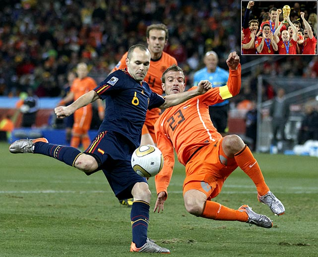 Andres Iniesta drilled a right-footed shot from 8 yards out, past the outstretched arms of Dutch goalkeeper Maarten Stekelenburg with about seven minutes remaining to give Spain a 1-0 victory over the Netherlands in the first World Cup staged in South Africa.