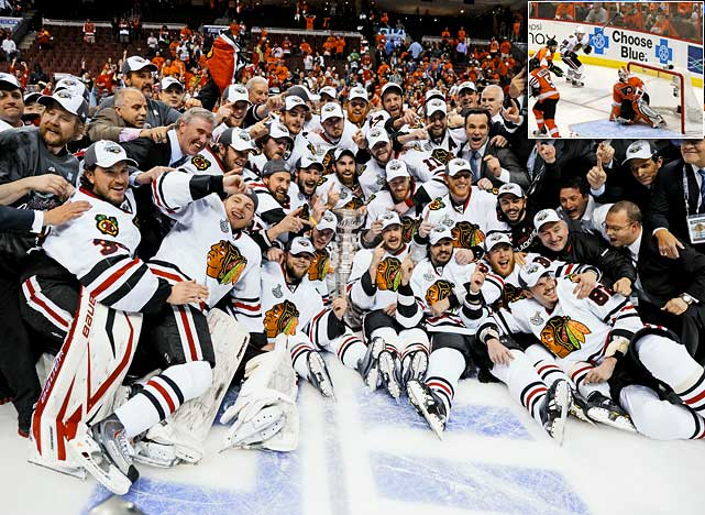 The Chicago Blackhawks defeated the Philadelphia Flyers 4-3 in overtime of Game 6 to win the best-of-seven series.  Chicago won its first Stanley Cup since Bobby Hull and Stan Mikita led the way 49 years ago.