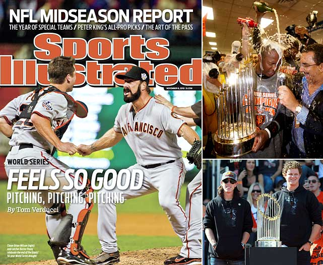 Thanks to a band of self-described castoffs and misfits and their shaggy-haired ace, Tim Lincecum, the San Francisco Giants defeated the Texas Rangers in five games to win their first World Series since moving from New York to the Bay area .