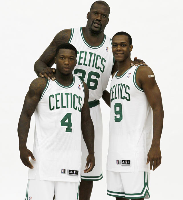 Rondo with Shaquille O'Neal and Nate Robinson at Celtics Media Day. Shaq  joined