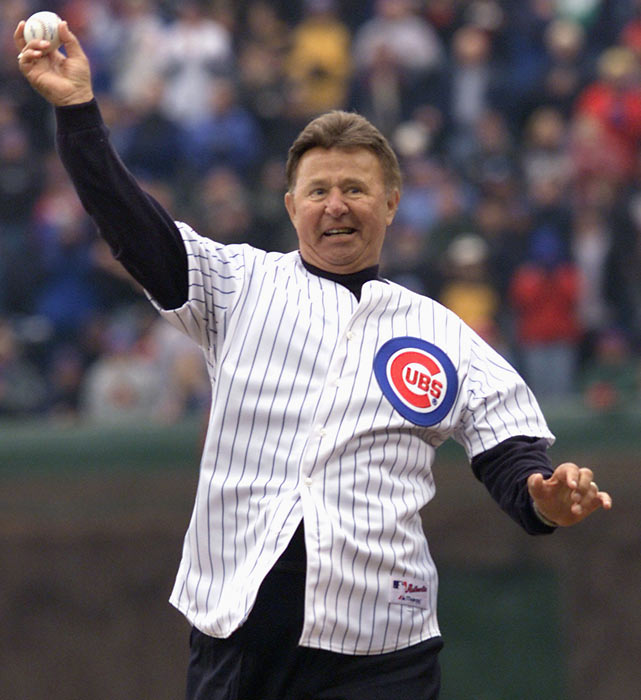 Santo throws out the ceremonial first pitch before the Cubs' 2002 home opener.