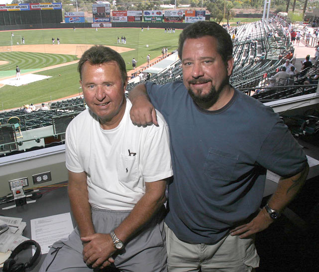 Santo poses with his son, Jeff, in the press box before a Cubs spring training game in Phoenix, Ariz. Jeff's documentary --  This Old Cub  -- tells the story of his father's secret life as a diabetic athlete.
